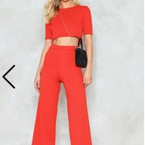 NWT NASTY GAL SETTLE THE SCORE RED CO ORD PANT SET